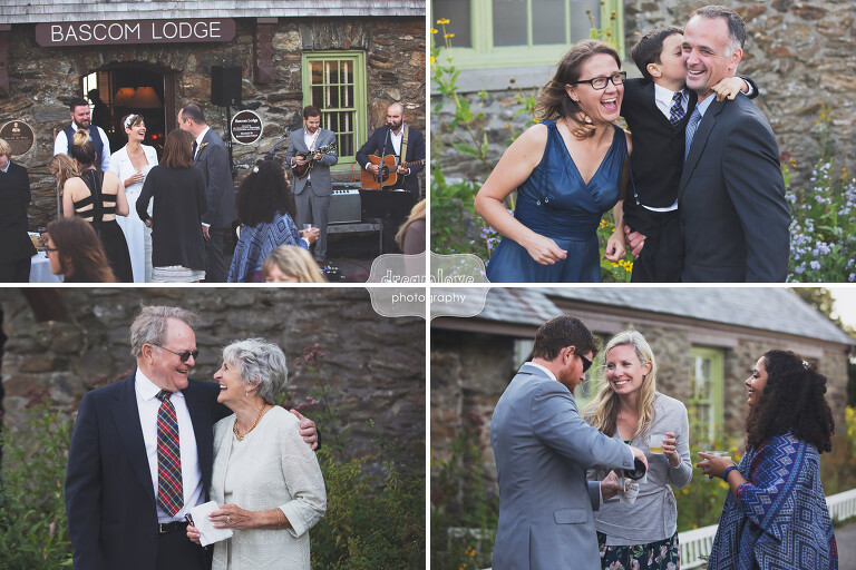 Candid wedding guests photos at the Bascom Lodge in Western MA.