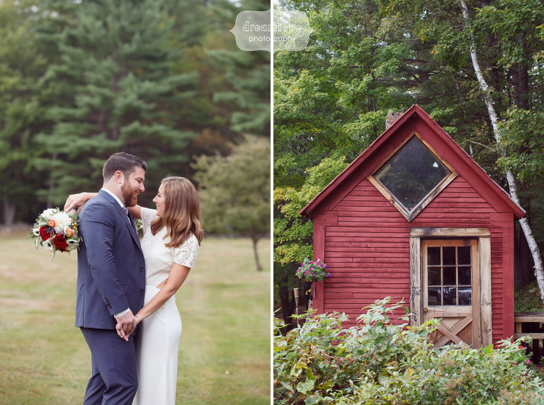 Bride and groom at the Curtis Hollow Farm for their fall wedding in Quechee, VT.