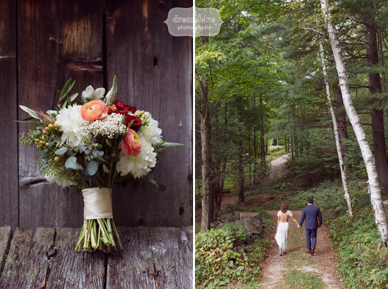 Bride and groom walk through the woods at the Curtis Hollow Farm before their wedding.