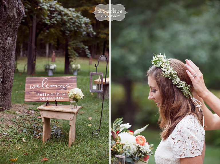 Romantic flower crown on the bride at this Quechee, VT fall wedding.