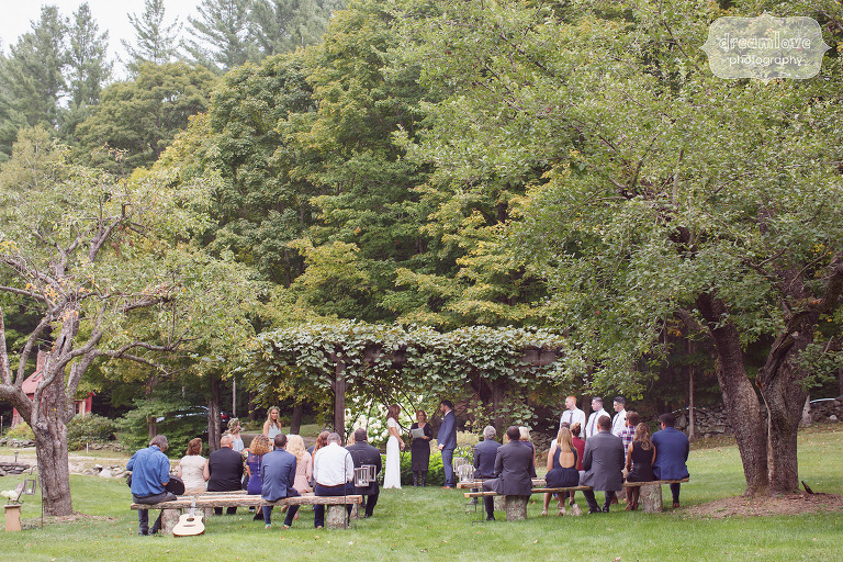 Rustic wedding ceremony space in the field at the Curtis Hollow Farm in Quechee, VT.