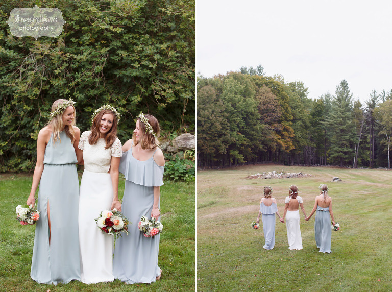 Ethereal wedding photo of the bride and bridesmaids with flower crowns at Quechee, VT wedding.