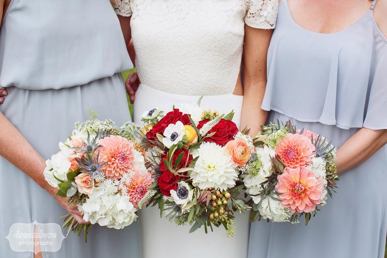 Gorgeous autumn wedding flower bouquets for Quechee, VT farm wedding.