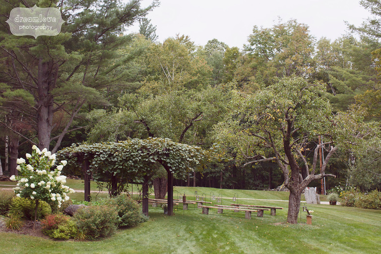 View of the outdoor ceremony space at this intimate farm wedding venue in Southern VT at the Curtis Hollow Farm.
