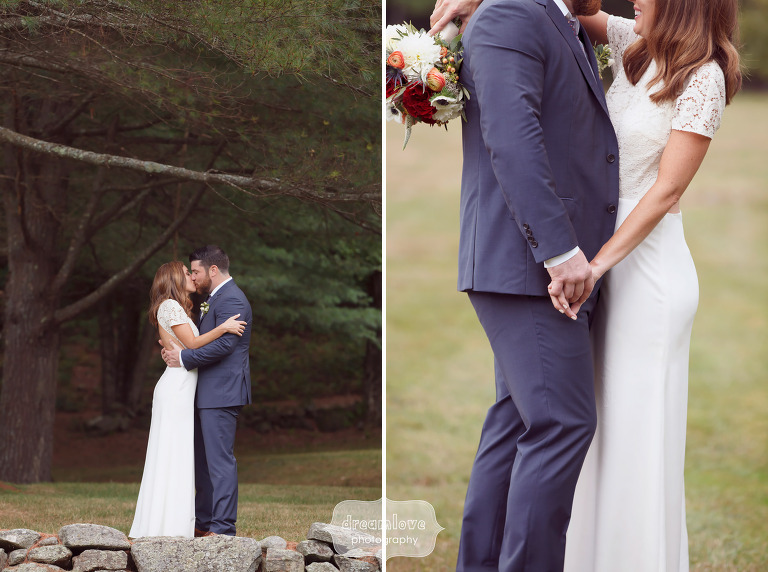 Romantic wedding photo of the bride and groom at the Curtis Hollow Farm in Quechee, VT.