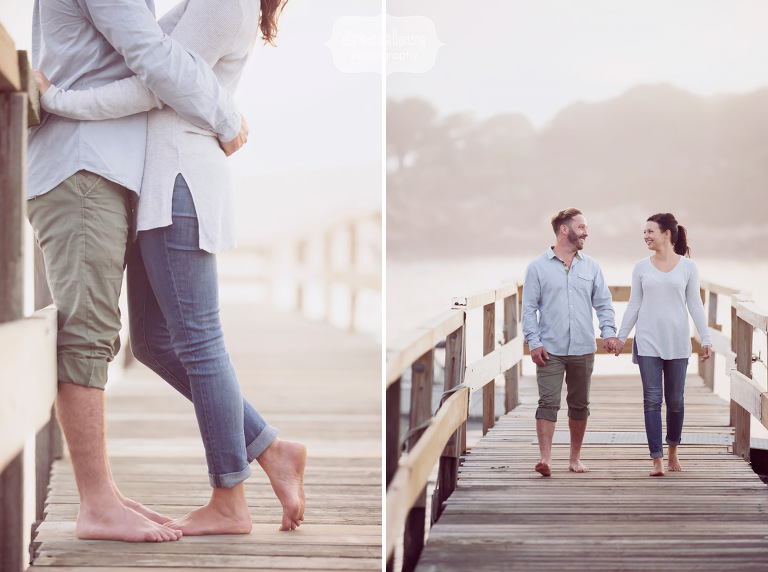 Casual Anthropologie style engagement photos at the Singing Beach in MA.