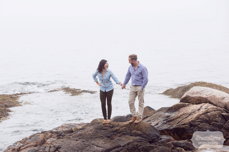 Fun engagement photo session on the Great Lawn in Manchester-by-the-Sea.