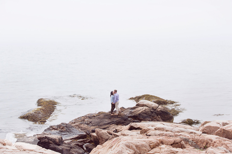 Couple kissing in landscape photo during engagement photo shoot on the coast of MA.
