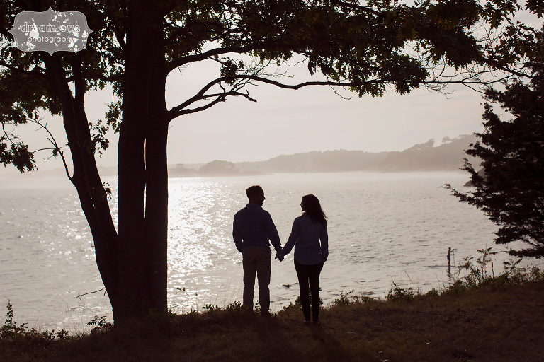 Fine art silhouette photo of the couple on the ocean on the North Shore, MA.