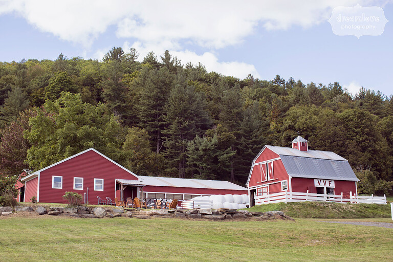 Red barns sit at the Warfield House Inn wedding venue in western MA.
