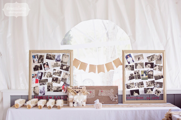 Childhood photos are strung up in antique picture frames at the Warfield House Inn, MA.