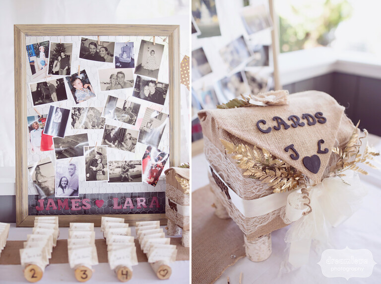 DIY and rustic wedding decor ideas at this wedding in the Berkshires, MA.