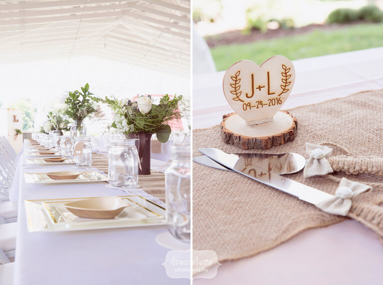 Simple ideas for a rustic and outdoor wedding with burlap and antique milk bottles at the Warfield House Inn.