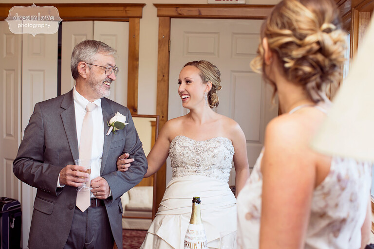 Documentary wedding photo of the bride and her father at this Berkshires wedding at the Warfield House Inn.