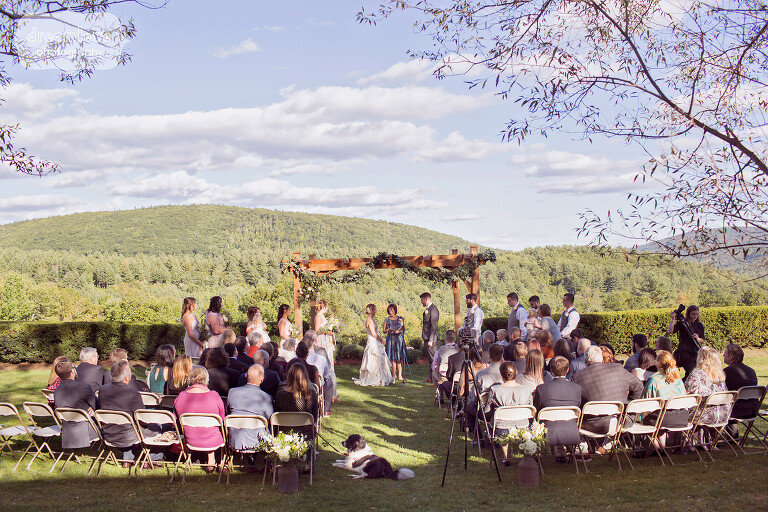 Small wedding ceremony overlooking the Berkshires at the Warfield House Inn.