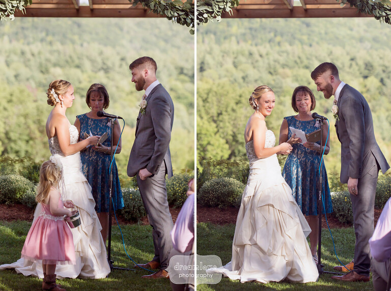 Candid moments during the outdoor ceremony at this western MA wedding.