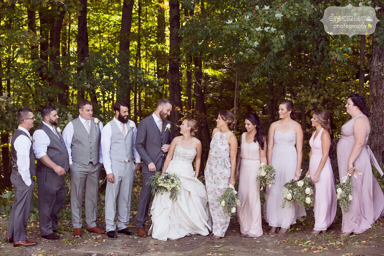 Woodsy photo of the wedding party at the Warfield House Inn in MA.