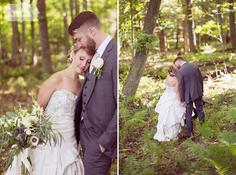 Ethereal photos of the bride and groom in sunbursty light at the Warfield House Inn.