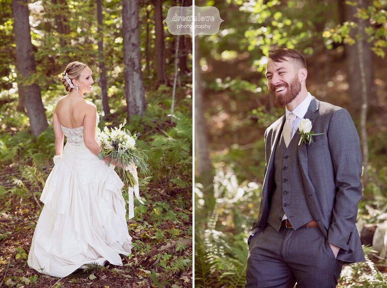 Individual photos of the bride and groom in the woods at this rustic barn wedding venue in the Berkshires.