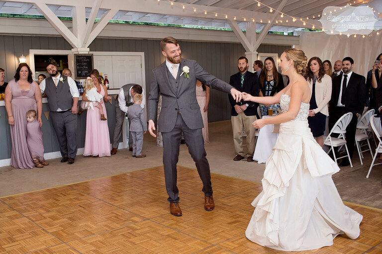 The bride and groom have their first dance at the Warfield House Inn.