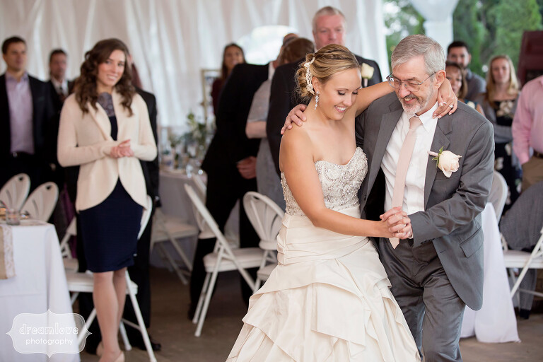 The bride and her dad dance at the Warfield House Inn in Charlemont, MA.