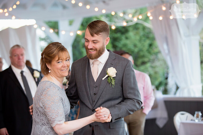 The groom and his mother dance at the Warfield House Inn.