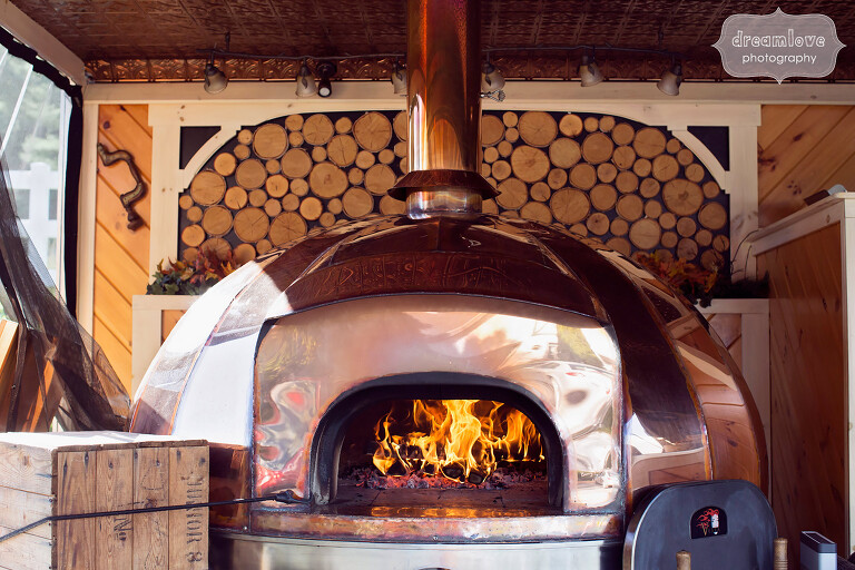 View of the woodfired pizza oven at the Warfield House Inn.
