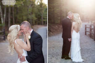 Bride and groom pose for portraits on the path to Cathedral Ledge in Conway, NH.