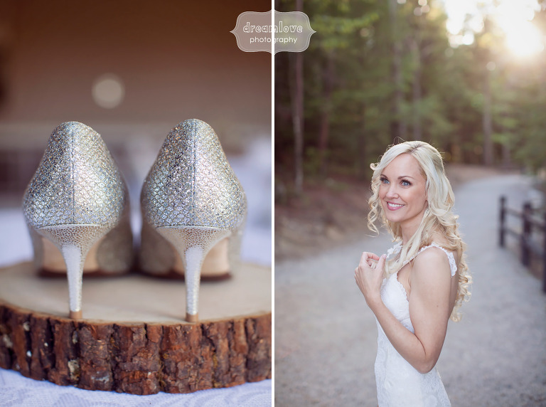 Fine art wedding photo of the bride in the woods and her sparkly Jimmy Choo shoes in Conway, NH.