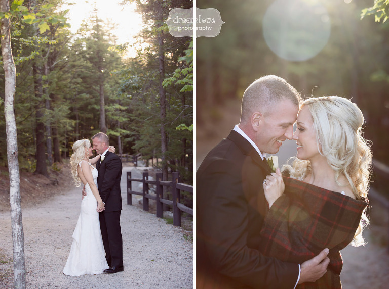 The bride and groom pose for portraits in the woods after their White Mountain Hotel wedding in Conway, NH.