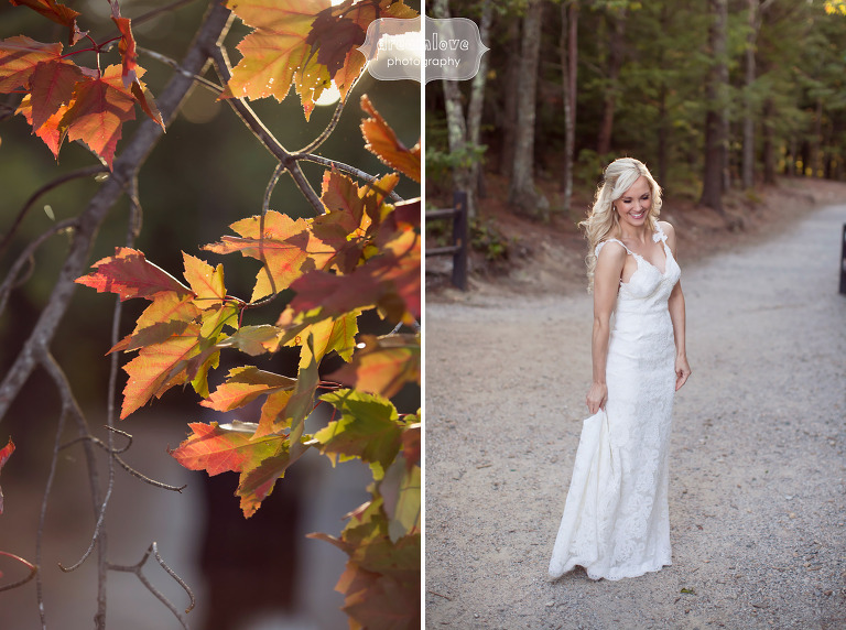 September wedding photos of the bride in the woods at the White Mountain Hotel in NH.