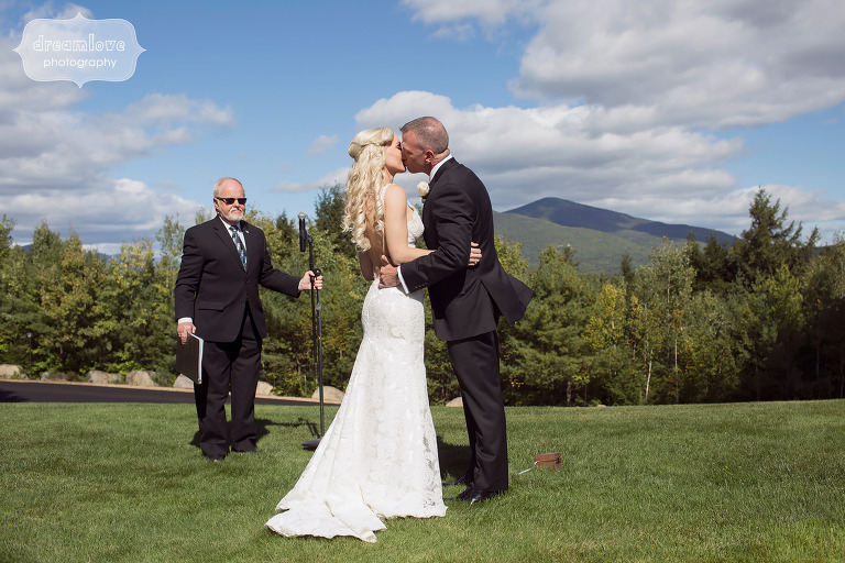 Romantic wedding ceremony in the White Mountains of Conway, NH.