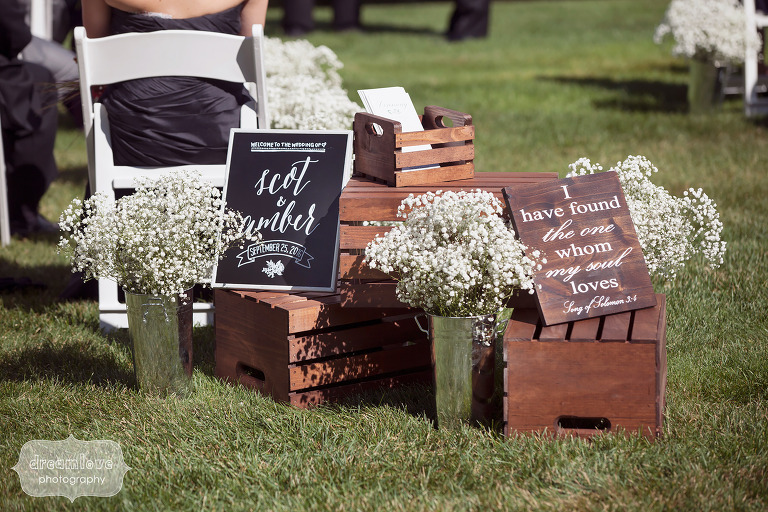 Rustic wooden wedding signs at this White Mountains Hotel wedding.