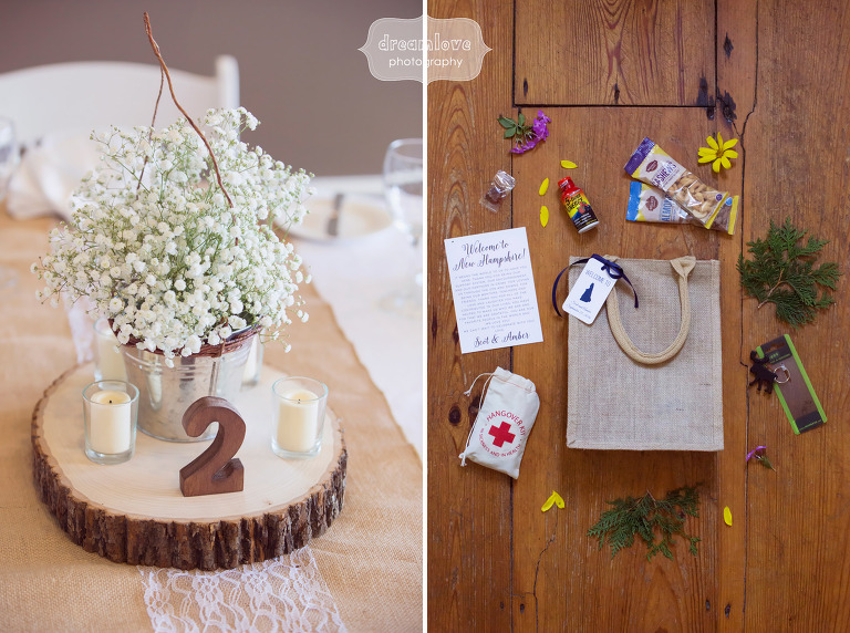 Organic and rustic wedding decor ideas at this White mountain hotel wedding in Conway, NH.