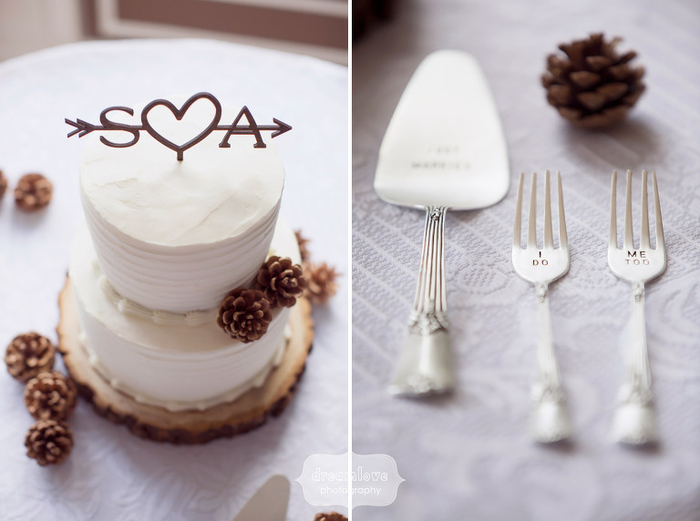 Modern organic style wedding cake topper with initials at this White mountain inn wedding in NH.