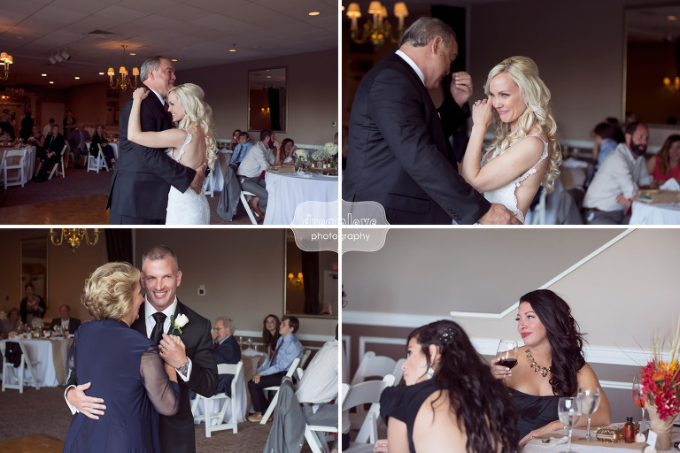 Emotional wedding photos of the bride dancing with her dad at the White Mountain Hotel in Conway, NH.