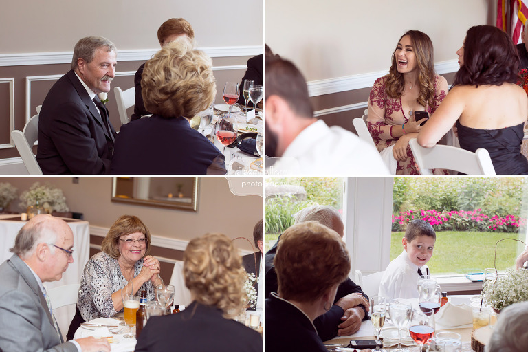Candid wedding photos of guests laughing at the White Mountain Hotel in Conway.