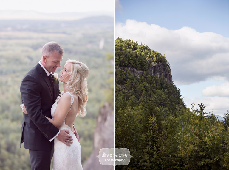 Fall wedding at Cathedral Ledge with the bride and groom on the cliffs.