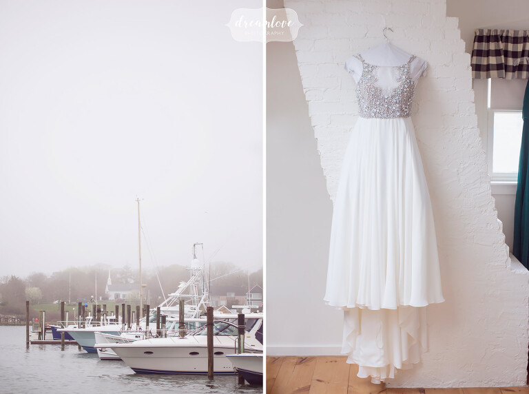Coastal wedding venue with boats at the Wychmere in Harwich, MA.