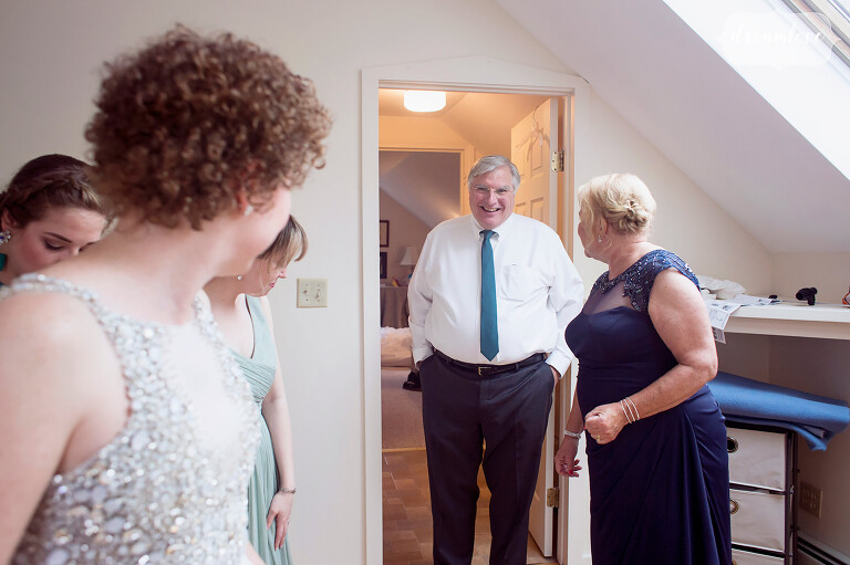 Father of the bride sees his daughter for the first time at the Wychmere Beach Club.