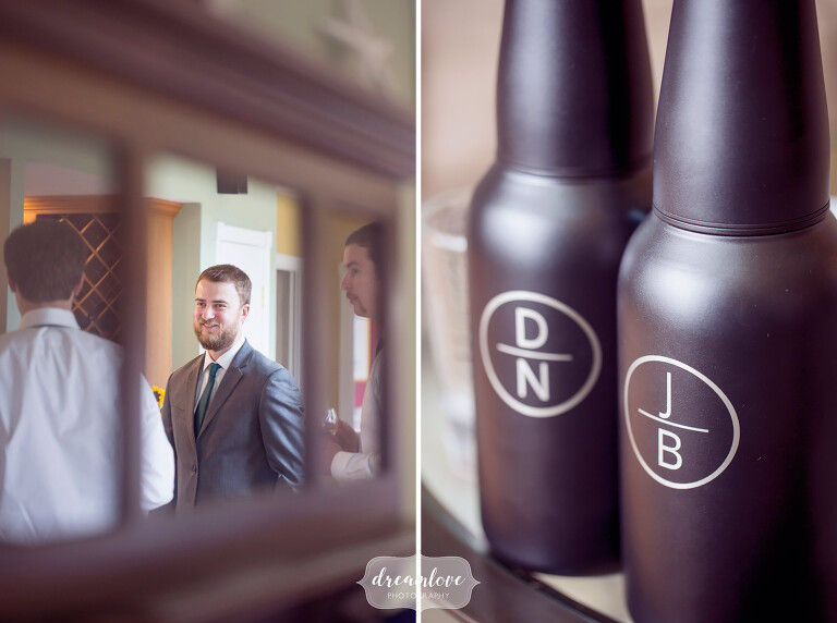 Documentary photography of the groom getting ready at the Wychmere cottage on Cape Cod.