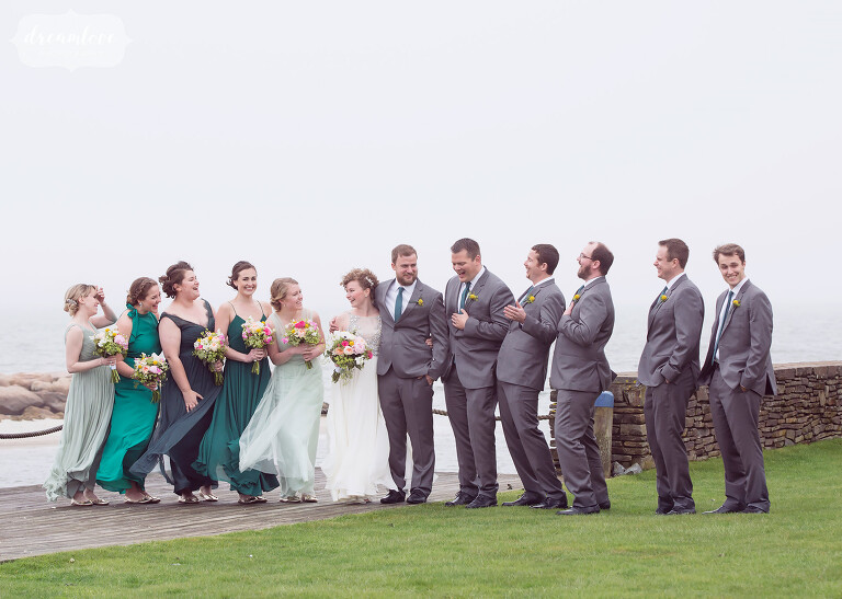 We loved this fun wedding party photo on the beach outside of the Wychmere on Cape Cod.