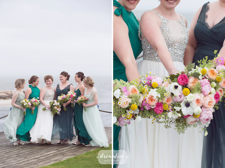 The bridesmaids pose on the beach with colorful spring wedding bouquets before this Cape Cod wedding at the Wychmere.