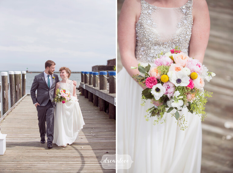 This simple wedding dress with sparkles on top paired with a colorful spring bouquet was perfect for this Anthropologie coastal MA wedding.