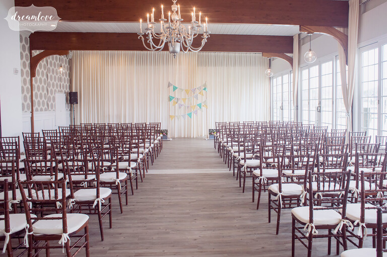 Indoor ceremony location if rain at the Wychmere Beach Club with natural light.