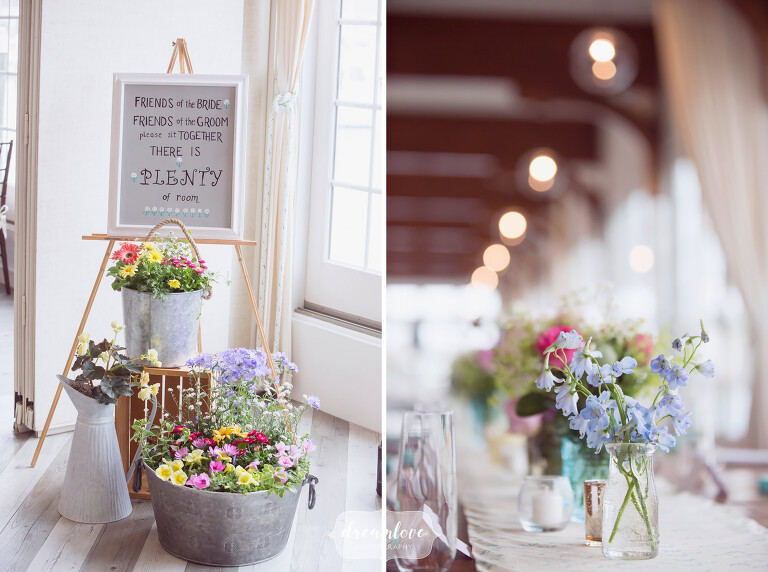 Rustic decor ideas for this beach wedding at the Wychmere on Cape Cod.