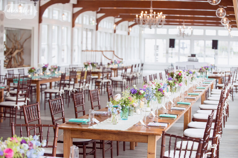 Colorful family style tables set up at the Wychmere on Cape Cod.