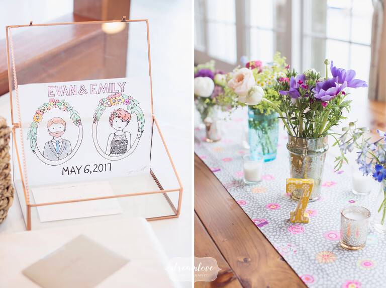 Great ideas for handmade DIY coloring pages and vintage vases at this Cape Cod wedding.