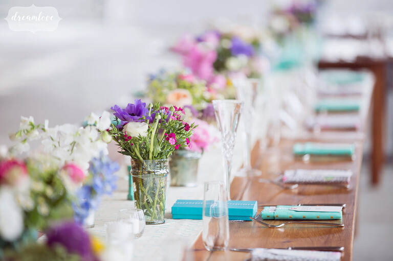 Teal and purple beach wedding ideas with handmade napkins at the Wychmere on Cape Cod.