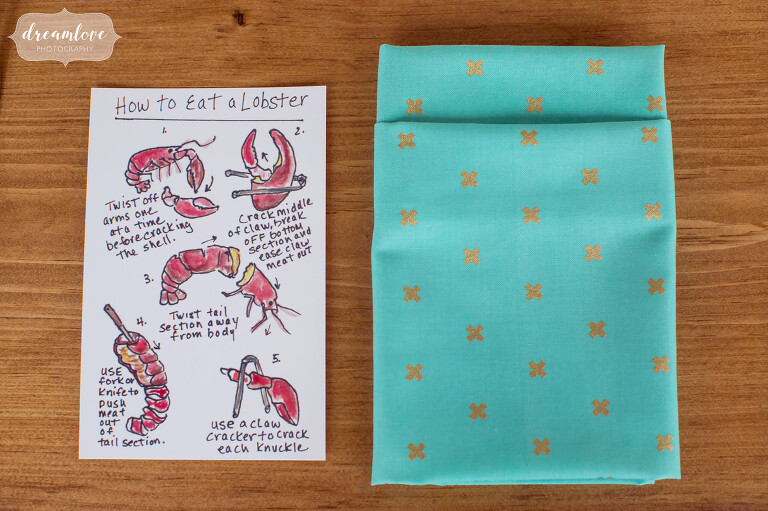 Handmade card for guests on how to eat a lobster at this Cape Cod wedding.